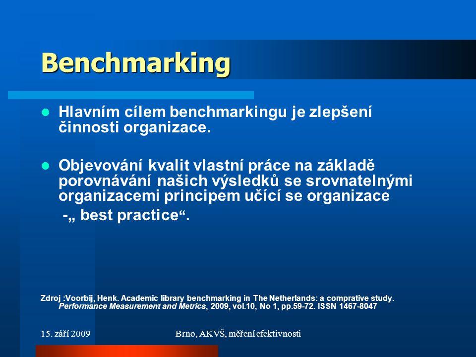 15. září 2009Brno, AKVŠ, měření efektivnosti Benchmarking Hlavním cílem benchmarkingu je zlepšení činnosti organizace. Objevování kvalit vlastní práce