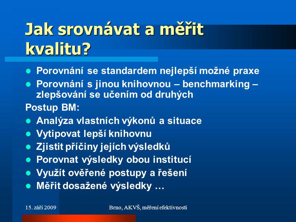 15. září 2009Brno, AKVŠ, měření efektivnosti Jak srovnávat a měřit kvalitu.