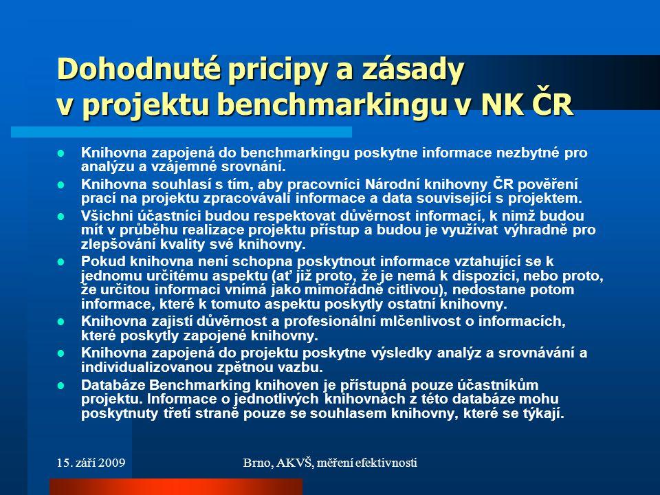 15. září 2009Brno, AKVŠ, měření efektivnosti Dohodnuté pricipy a zásady v projektu benchmarkingu v NK ČR Knihovna zapojená do benchmarkingu poskytne i