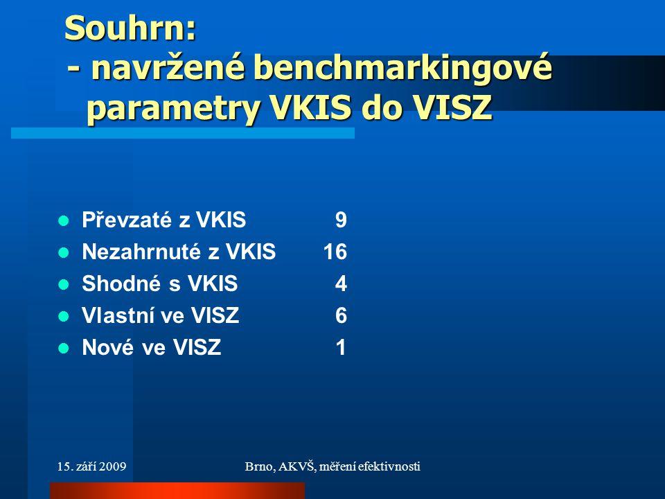 15. září 2009Brno, AKVŠ, měření efektivnosti Souhrn: - navržené benchmarkingové parametry VKIS do VISZ Souhrn: - navržené benchmarkingové parametry VK