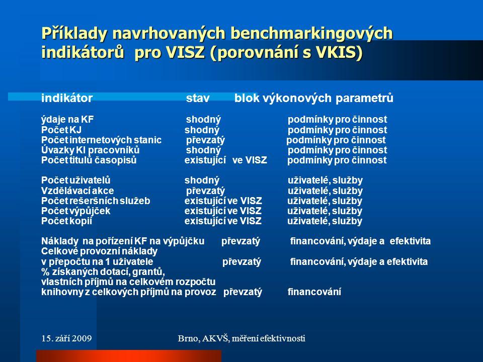 15. září 2009Brno, AKVŠ, měření efektivnosti Příklady navrhovaných benchmarkingových indikátorů pro VISZ (porovnání s VKIS) indikátorstavblok výkonový