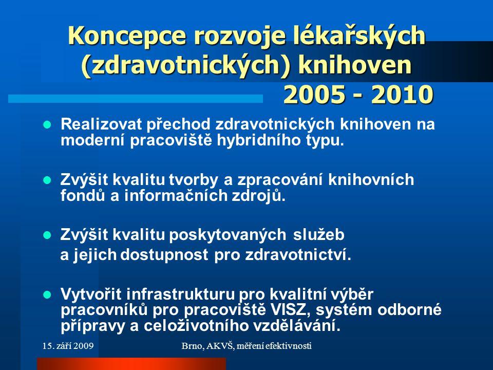 15. září 2009Brno, AKVŠ, měření efektivnosti Koncepce rozvoje lékařských (zdravotnických) knihoven 2005 - 2010 Realizovat přechod zdravotnických kniho