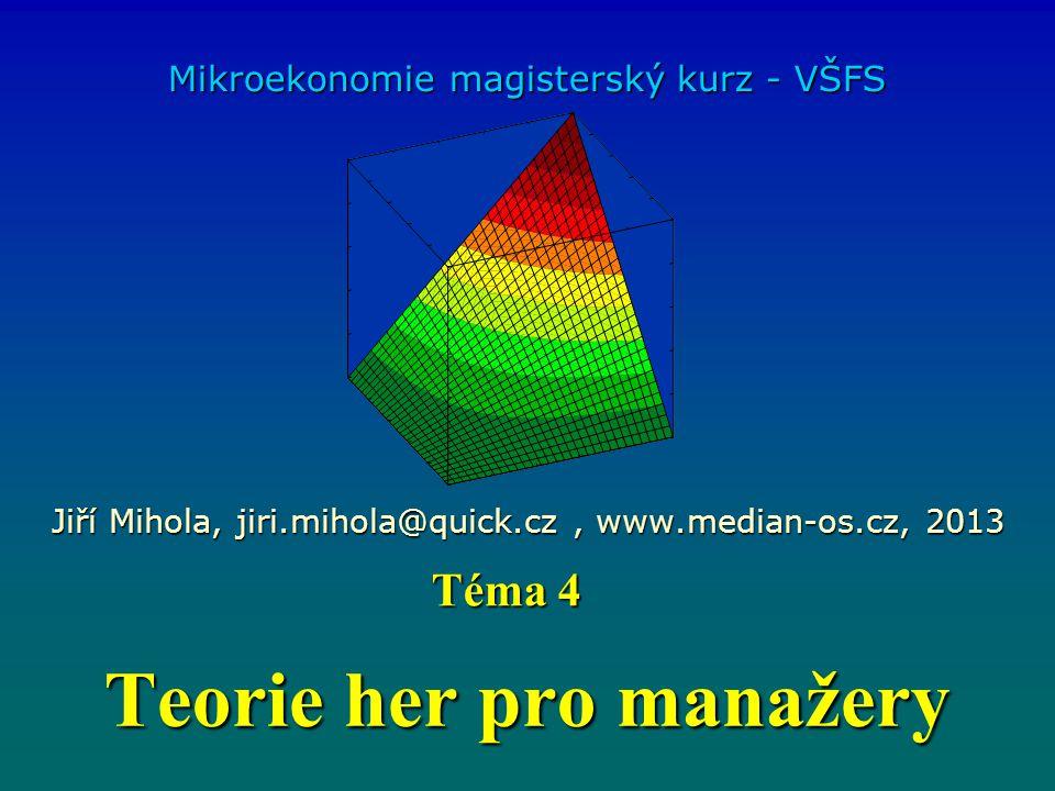 Teorie her pro manažery Mikroekonomie magisterský kurz - VŠFS Jiří Mihola, jiri.mihola@quick.cz, www.median-os.cz, 2013 Téma 4