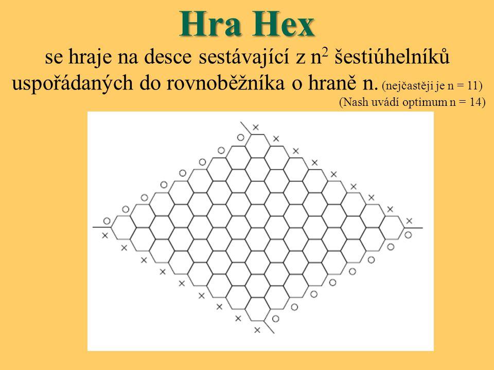 Hra Hex se hraje na desce sestávající z n 2 šestiúhelníků uspořádaných do rovnoběžníka o hraně n. (nejčastěji je n = 11) (Nash uvádí optimum n = 14)