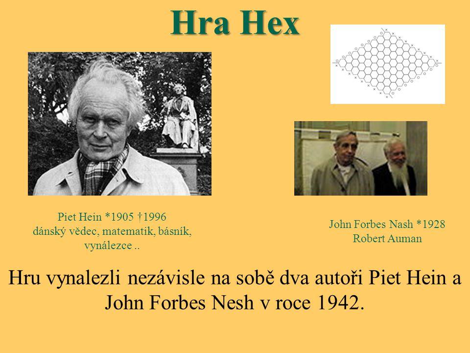 Hra Hex Hru vynalezli nezávisle na sobě dva autoři Piet Hein a John Forbes Nesh v roce 1942. John Forbes Nash *1928 Robert Auman Piet Hein *1905 †1996