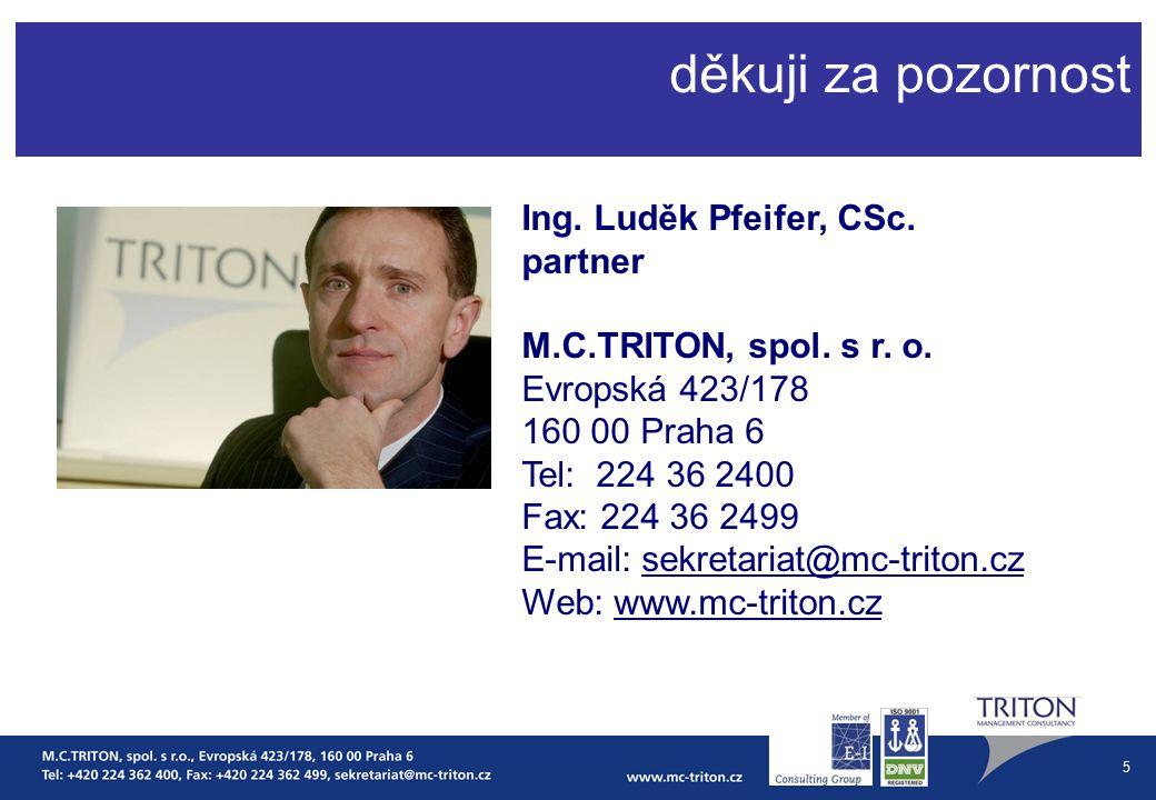 5 děkuji za pozornost Ing. Luděk Pfeifer, CSc. partner M.C.TRITON, spol.