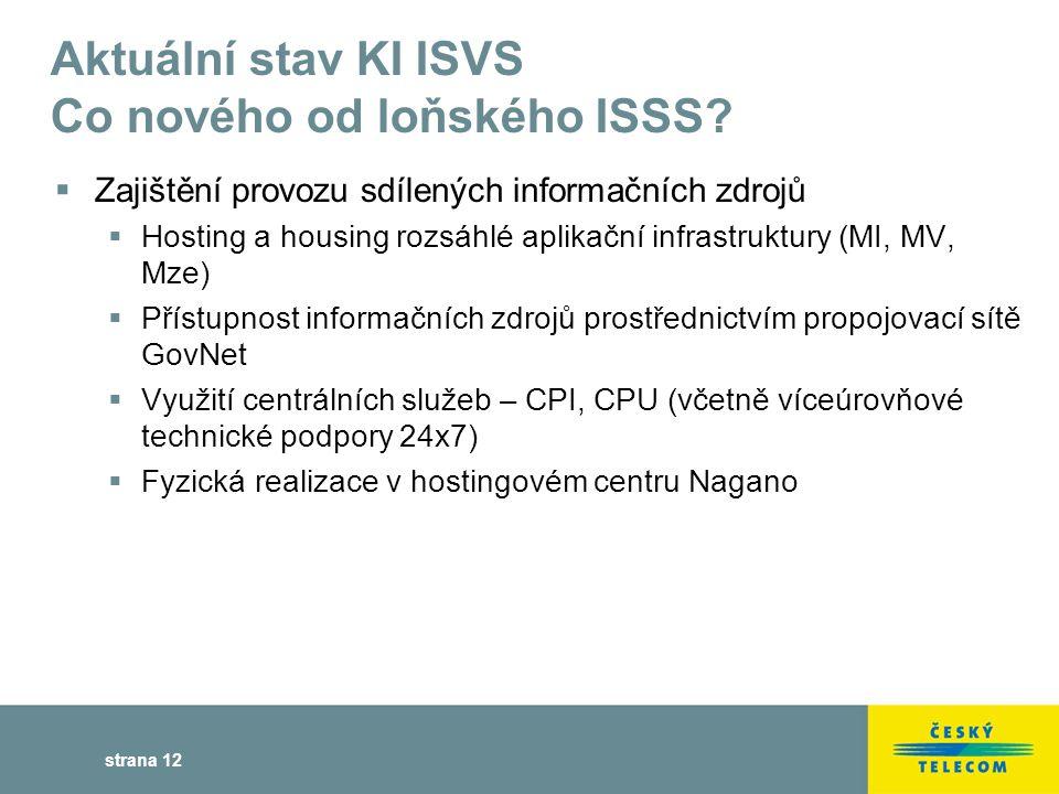 strana 12 Aktuální stav KI ISVS Co nového od loňského ISSS.