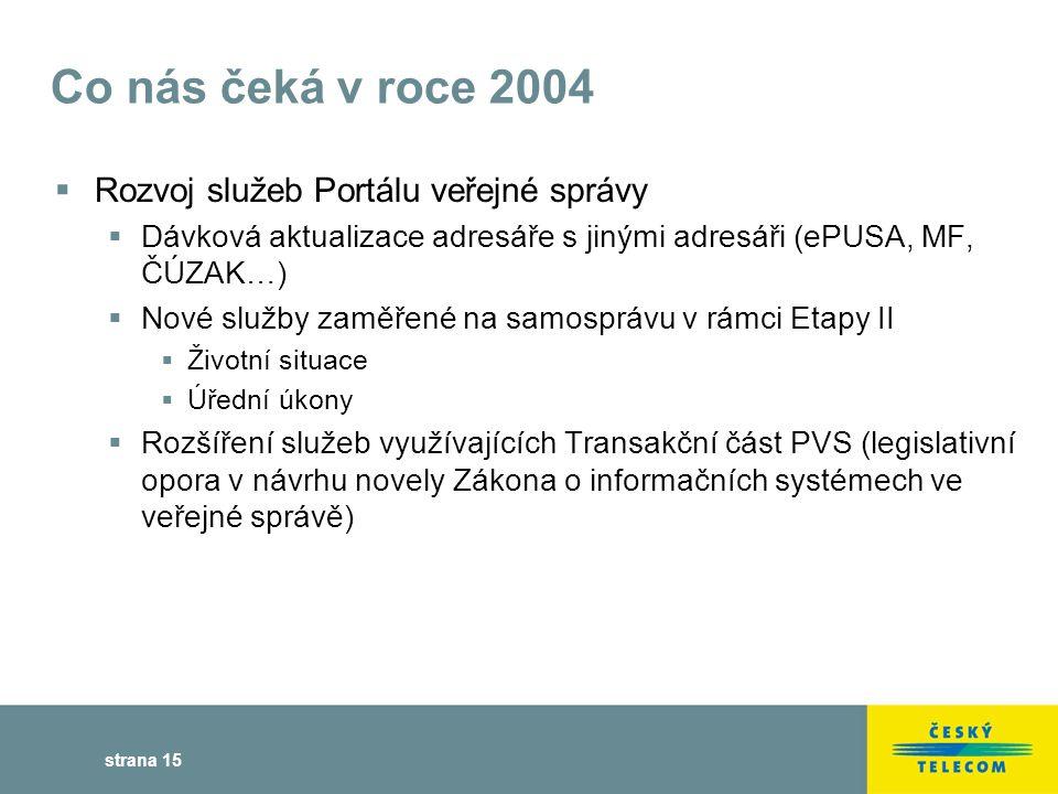 strana 15 Co nás čeká v roce 2004  Rozvoj služeb Portálu veřejné správy  Dávková aktualizace adresáře s jinými adresáři (ePUSA, MF, ČÚZAK…)  Nové služby zaměřené na samosprávu v rámci Etapy II  Životní situace  Úřední úkony  Rozšíření služeb využívajících Transakční část PVS (legislativní opora v návrhu novely Zákona o informačních systémech ve veřejné správě)