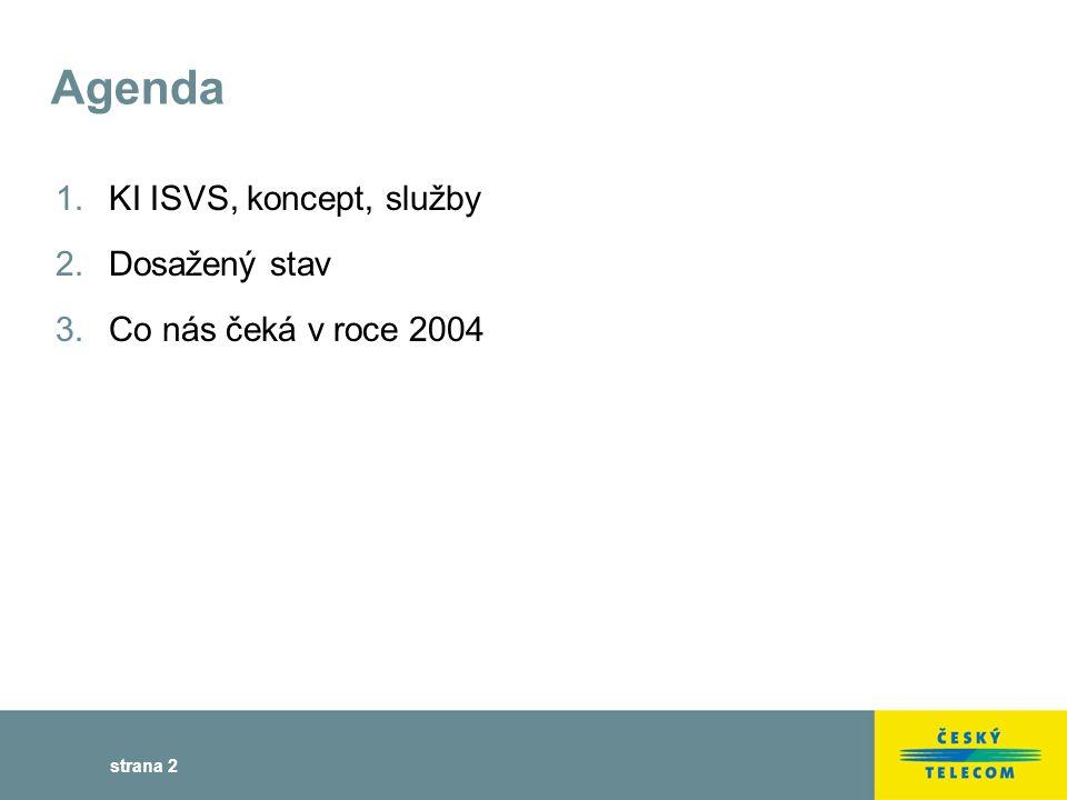 strana 2 Agenda 1.KI ISVS, koncept, služby 2.Dosažený stav 3.Co nás čeká v roce 2004