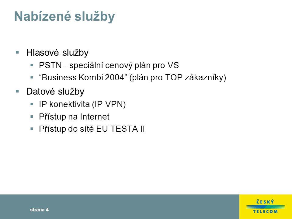 strana 4 Nabízené služby  Hlasové služby  PSTN - speciální cenový plán pro VS  Business Kombi 2004 (plán pro TOP zákazníky)  Datové služby  IP konektivita (IP VPN)  Přístup na Internet  Přístup do sítě EU TESTA II