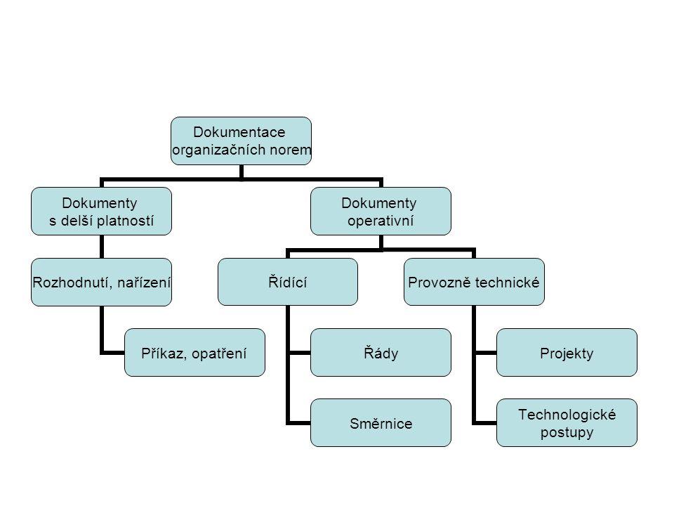 """Skupiny organizačních norem Normy """"dokumentační Normy """"prováděcí (""""metodické ) Normy """"organizační"""