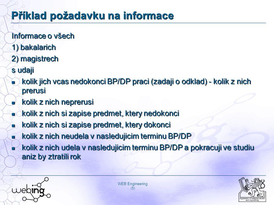 WEB Engineering (5) department of computer science and engineering Příklad požadavku na informace Informace o všech 1) bakalarich 2) magistrech s udaji kolik jich vcas nedokonci BP/DP praci (zadaji o odklad) - kolik z nich prerusi kolik jich vcas nedokonci BP/DP praci (zadaji o odklad) - kolik z nich prerusi kolik z nich neprerusi kolik z nich neprerusi kolik z nich si zapise predmet, ktery nedokonci kolik z nich si zapise predmet, ktery nedokonci kolik z nich si zapise predmet, ktery dokonci kolik z nich si zapise predmet, ktery dokonci kolik z nich neudela v nasledujicim terminu BP/DP kolik z nich neudela v nasledujicim terminu BP/DP kolik z nich udela v nasledujicim terminu BP/DP a pokracuji ve studiu aniz by ztratili rok kolik z nich udela v nasledujicim terminu BP/DP a pokracuji ve studiu aniz by ztratili rok