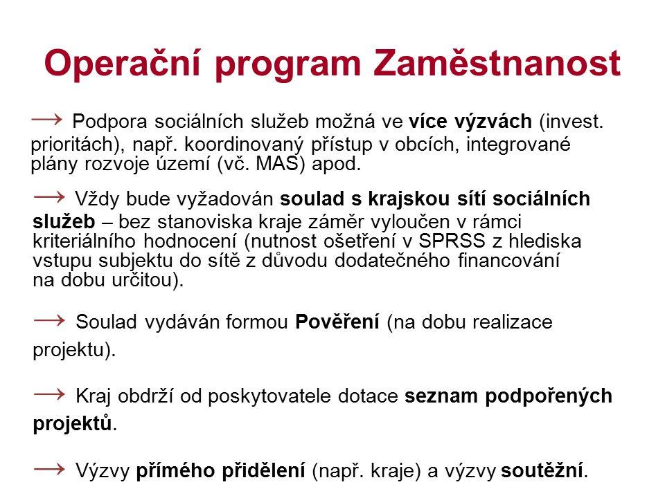 Operační program Zaměstnanost → Podpora sociálních služeb možná ve více výzvách (invest. prioritách), např. koordinovaný přístup v obcích, integrované