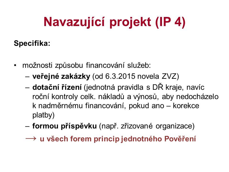 Navazující projekt (IP 4) Specifika: možnosti způsobu financování služeb: –veřejné zakázky (od 6.3.2015 novela ZVZ) –dotační řízení (jednotná pravidla