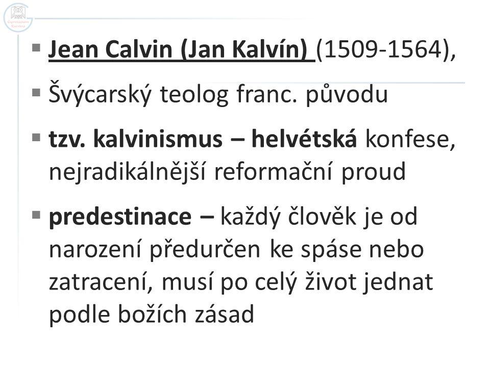  Jean Calvin (Jan Kalvín) (1509-1564),  Švýcarský teolog franc.