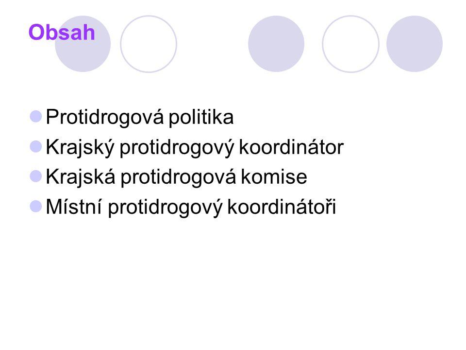 Obsah Protidrogová politika Krajský protidrogový koordinátor Krajská protidrogová komise Místní protidrogový koordinátoři