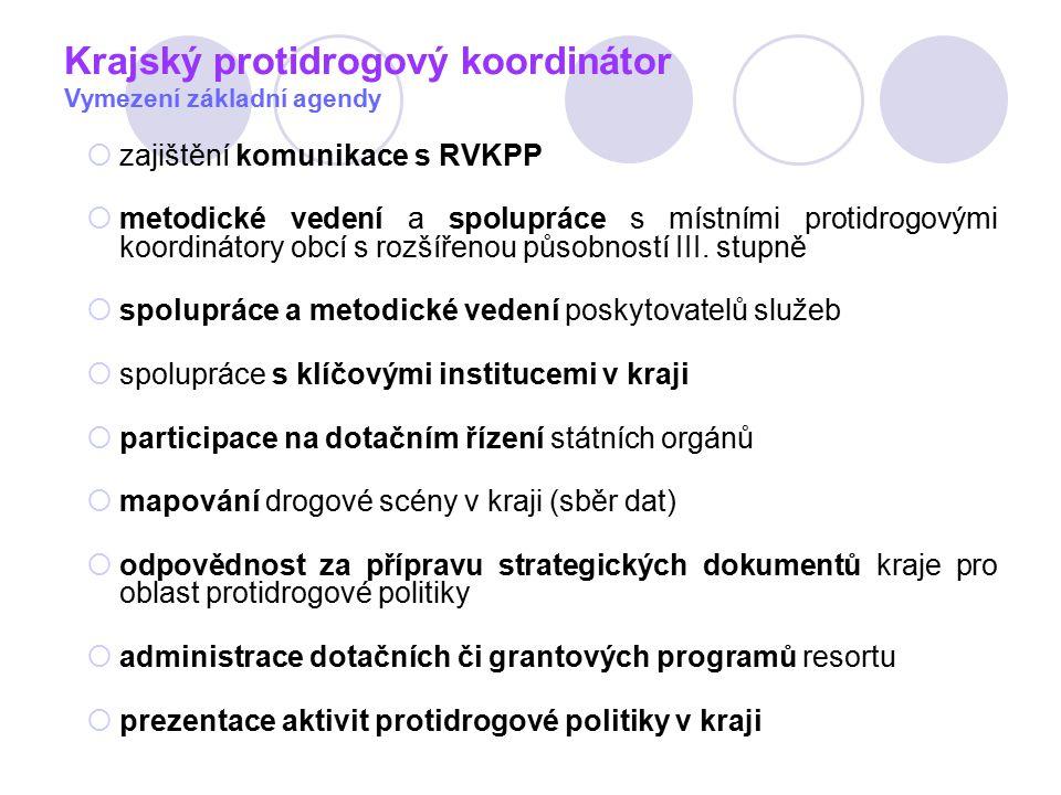 Krajský protidrogový koordinátor Vymezení základní agendy  zajištění komunikace s RVKPP  metodické vedení a spolupráce s místními protidrogovými koordinátory obcí s rozšířenou působností III.