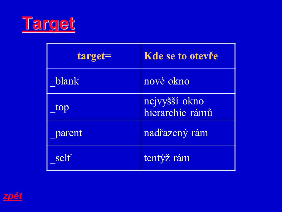 Target target=Kde se to otevře _blanknové okno _top nejvyšší okno hierarchie rámů _parentnadřazený rám _selftentýž rám zpět