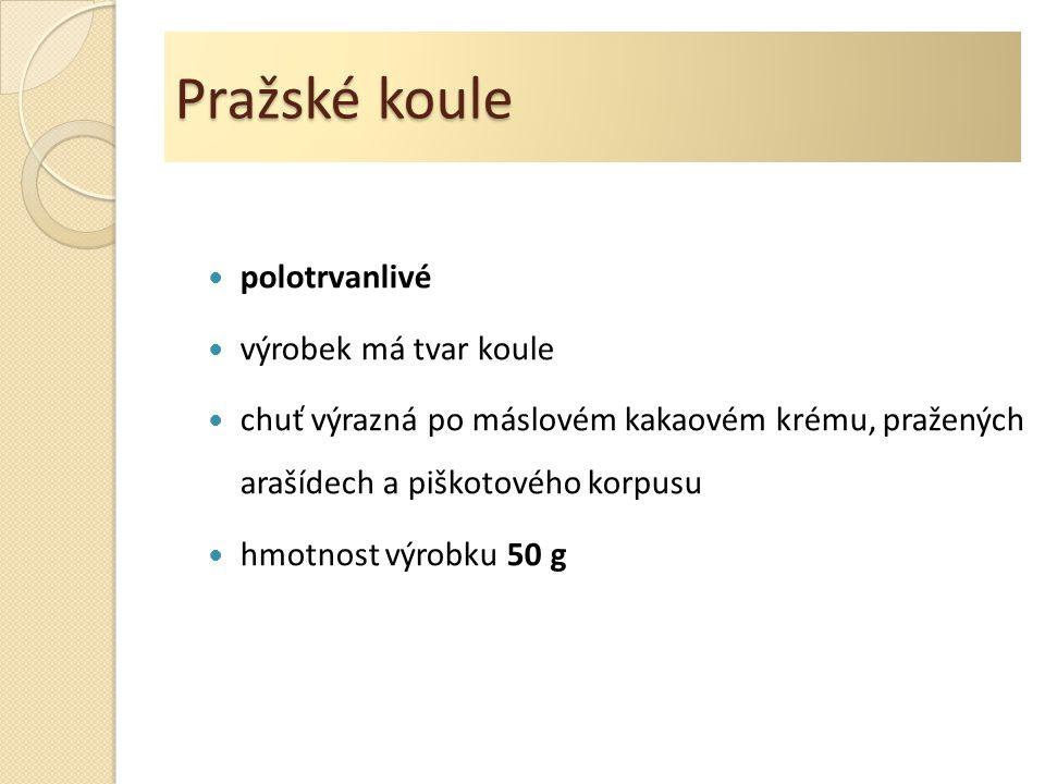 Pražské koule polotrvanlivé výrobek má tvar koule chuť výrazná po máslovém kakaovém krému, pražených arašídech a piškotového korpusu hmotnost výrobku 50 g