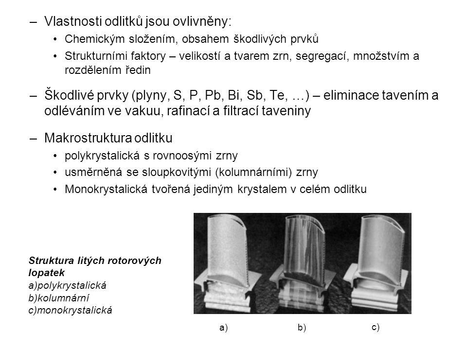 –Vlastnosti odlitků jsou ovlivněny: Chemickým složením, obsahem škodlivých prvků Strukturními faktory – velikostí a tvarem zrn, segregací, množstvím a