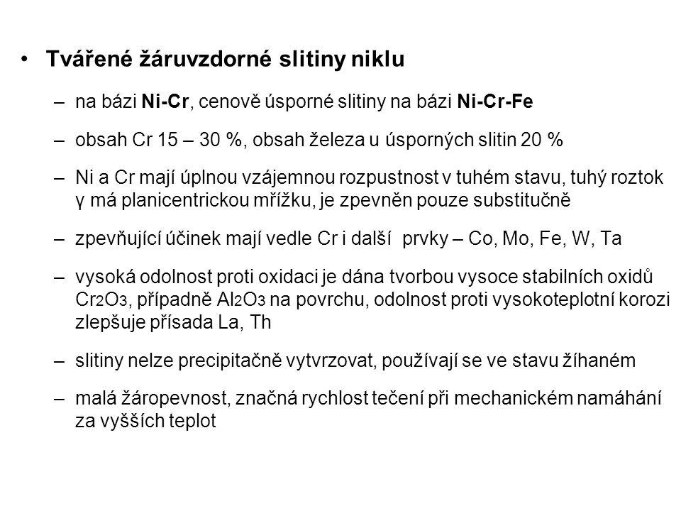 Složení a použití vybraných žáruvzdorných slitin Ni slitinachemické složení, %charakteristika NiCr20Ti Nimonic 75, Nicrofer 7520, AKN 20, EI 435 Cr20; Ti0,4; C0,1; max.5Fe; max.0,3Al, zbytek Ni Základní slitina pro méně namáhané plechové části – pláště, plamence SK.