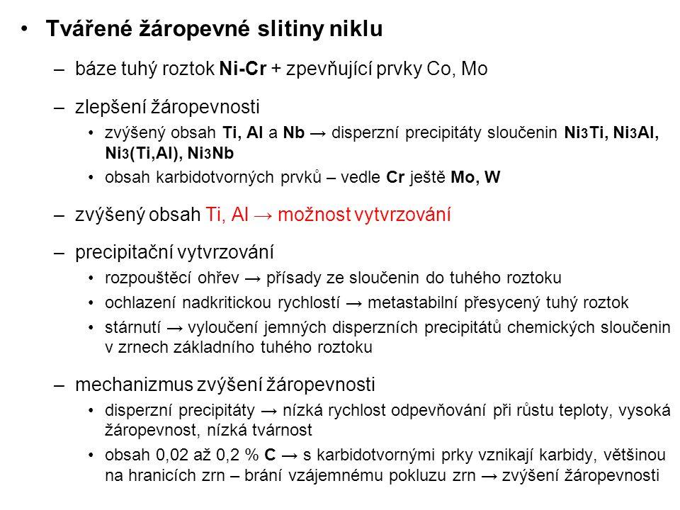 Složení a použití vybraných žáropevných slitin Ni slitinachemické složení, %charakteristika NiCr20TiAl AKNC, Nimonic 80A, Nicrofer 7520Ti Cr20; Al1,5; Ti2,3; C0,06; max.