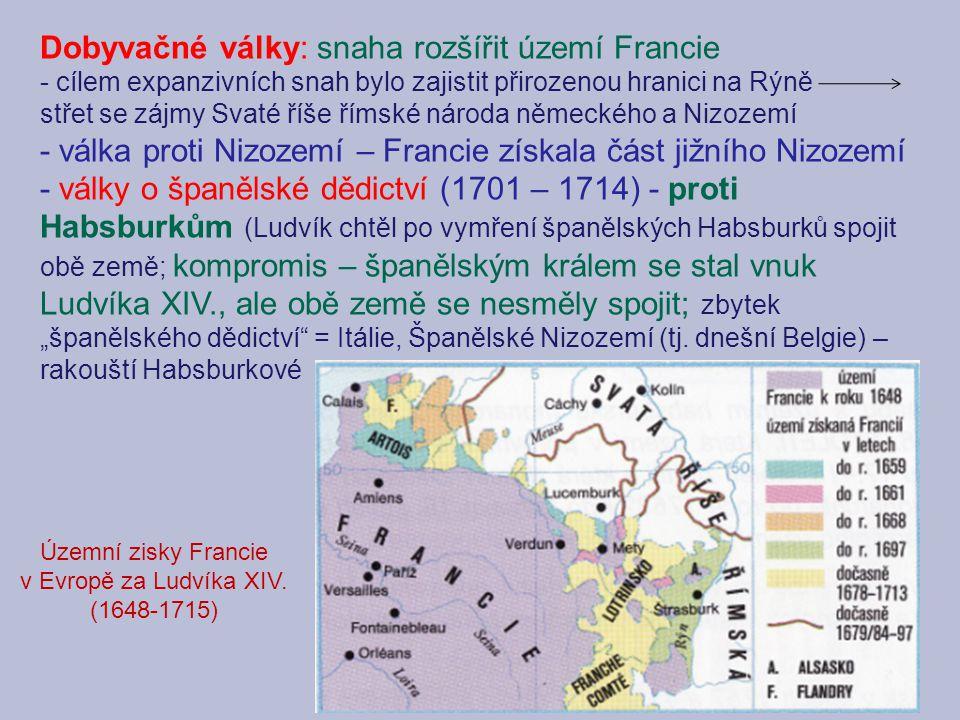 Dobyvačné války: snaha rozšířit území Francie - cílem expanzivních snah bylo zajistit přirozenou hranici na Rýně střet se zájmy Svaté říše římské náro