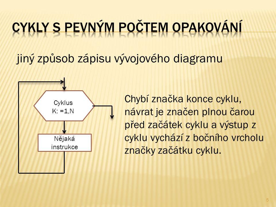 5 jiný způsob zápisu vývojového diagramu Chybí značka konce cyklu, návrat je značen plnou čarou před začátek cyklu a výstup z cyklu vychází z bočního vrcholu značky začátku cyklu.