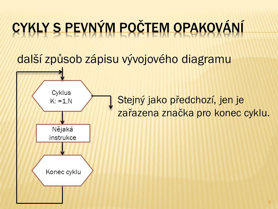 6 další způsob zápisu vývojového diagramu Stejný jako předchozí, jen je zařazena značka pro konec cyklu.