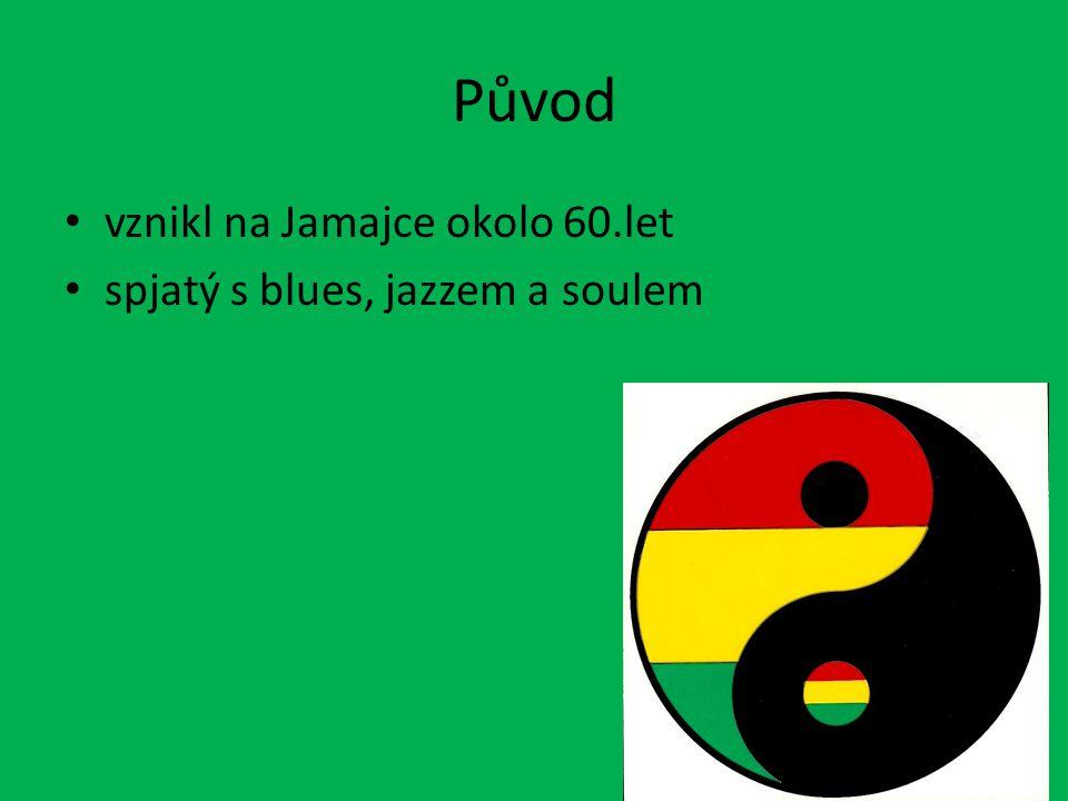 O Reggae texty převážně o zábavě reggae vzniklo za účelem svrhnutí vysokých producentů texty pomalé, uvolněné a klidné texty spjaté s Rastafariánskou tématikou barvy tohoto stylu jsou: červená, žlutá a zelená