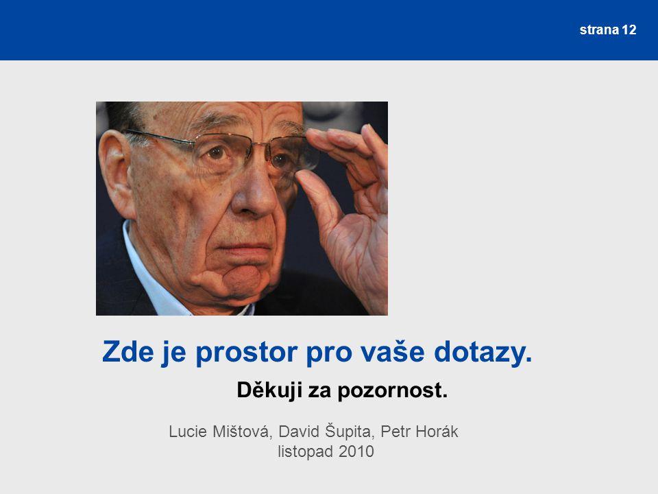 Děkuji za pozornost. Lucie Mištová, David Šupita, Petr Horák listopad 2010 strana 12 Zde je prostor pro vaše dotazy.