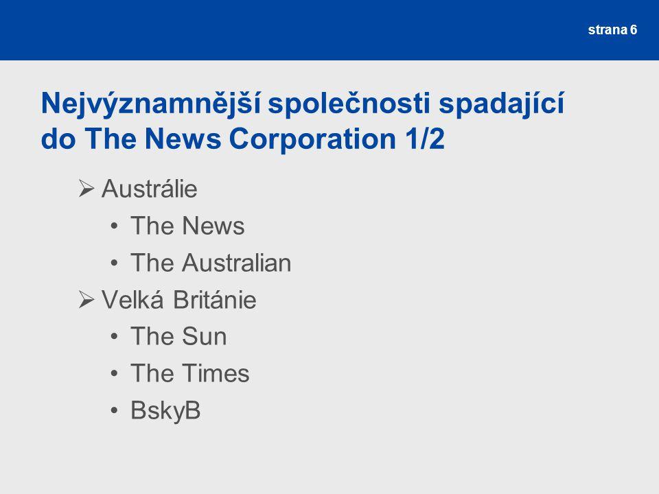 Nejvýznamnější společnosti spadající do The News Corporation 1/2  Austrálie The News The Australian  Velká Británie The Sun The Times BskyB strana 6