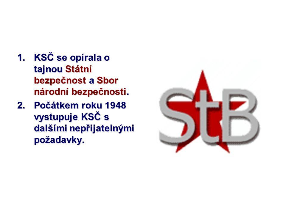 1.KSČ se opírala o tajnou Státní bezpečnost a Sbor národní bezpečnosti. 2.Počátkem roku 1948 vystupuje KSČ s dalšími nepřijatelnými požadavky.