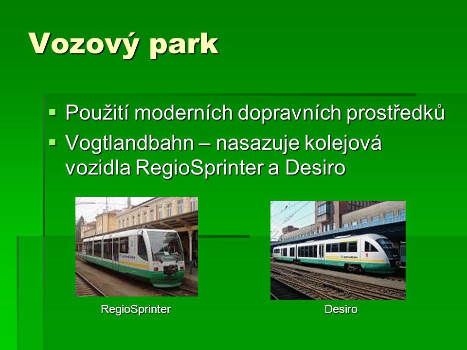 Vozový park  Použití moderních dopravních prostředků  Vogtlandbahn – nasazuje kolejová vozidla RegioSprinter a Desiro RegioSprinter Desiro RegioSprinter Desiro