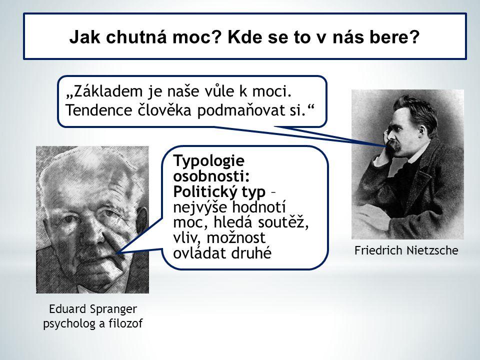 """Jak chutná moc. Kde se to v nás bere. Friedrich Nietzsche """"Základem je naše vůle k moci."""