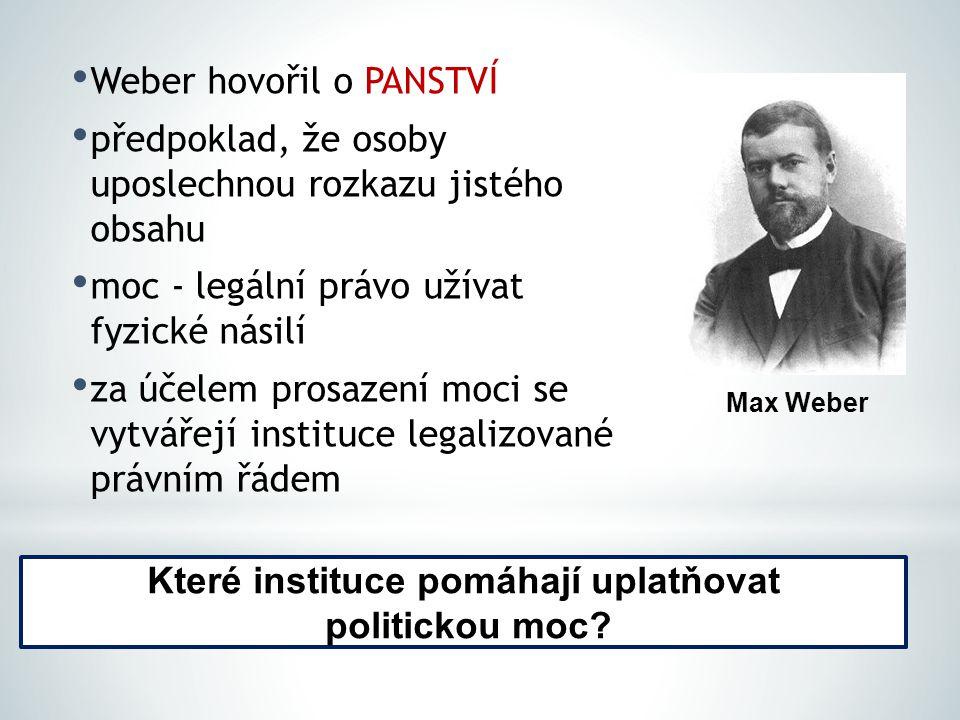 Weber hovořil o PANSTVÍ předpoklad, že osoby uposlechnou rozkazu jistého obsahu moc - legální právo užívat fyzické násilí za účelem prosazení moci se vytvářejí instituce legalizované právním řádem Max Weber Které instituce pomáhají uplatňovat politickou moc?