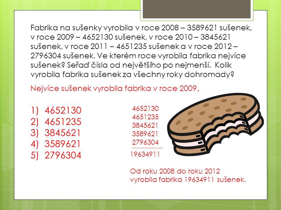Fabrika na sušenky vyrobila v roce 2008 – 3589621 sušenek, v roce 2009 – 4652130 sušenek, v roce 2010 – 3845621 sušenek, v roce 2011 – 4651235 sušenek