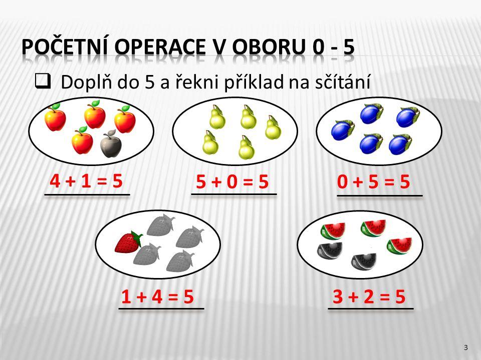 3 4 + 1 = 5 3 + 2 = 51 + 4 = 5 0 + 5 = 55 + 0 = 5  Doplň do 5 a řekni příklad na sčítání