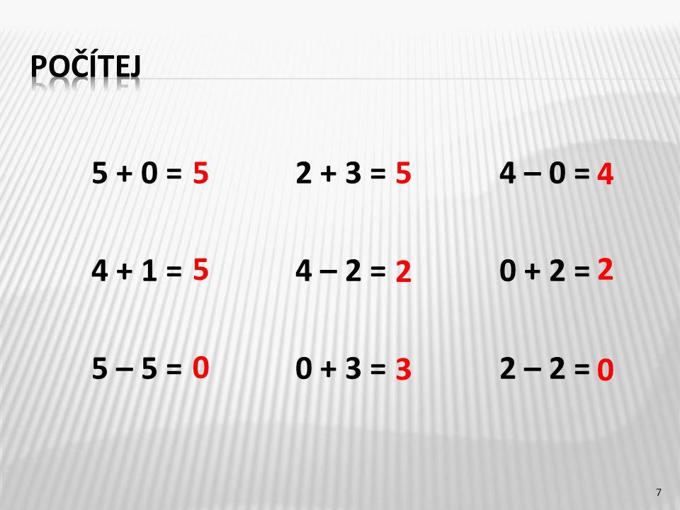 5 + 0 =2 + 3 =4 – 0 = 4 + 1 =4 – 2 =0 + 2 = 5 – 5 =0 + 3 = 2 – 2 = 7 5 0 5 2 2 4 5 0 3