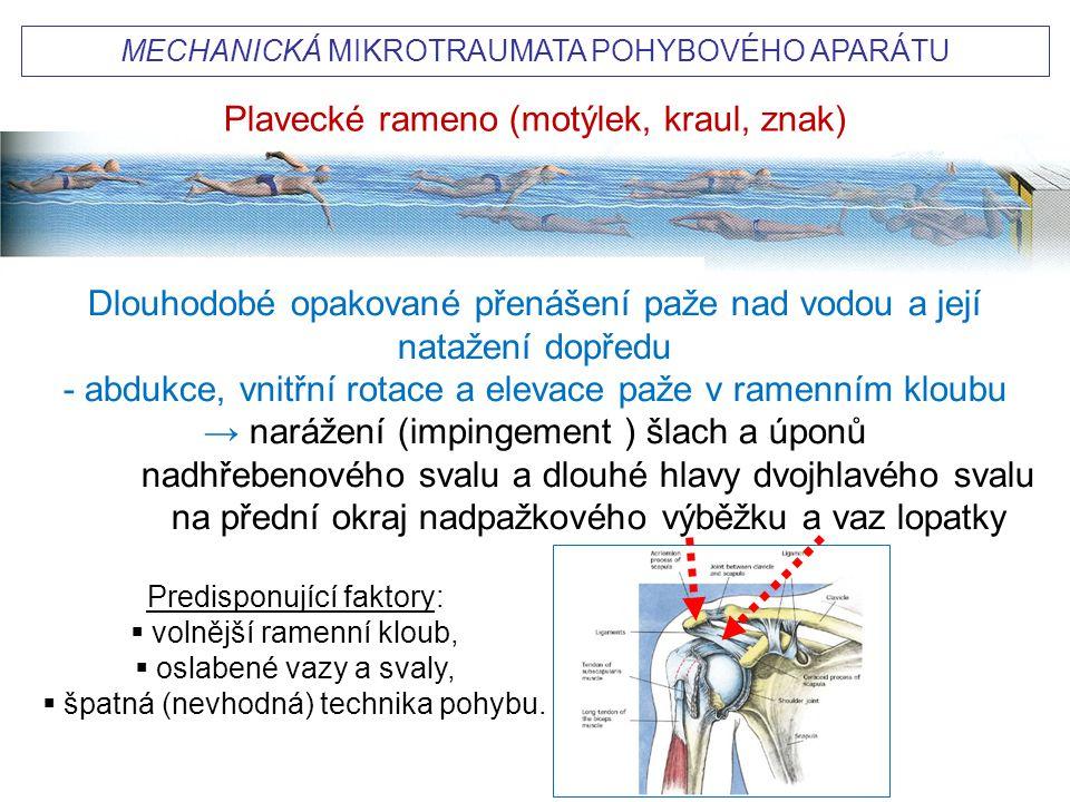 """""""PLAVECKÉ RAMENO (swimmer´s shoulder) Příčiny Dlouhodobé opakované přetížení ramene (asi 2 milióny cyklů pohybu / rok), především u stylu motýlek, ale i kraul a znak) je hlavní příčinou mikrotraumatizace u 40-80% plavců (častěji u více trénujících)."""