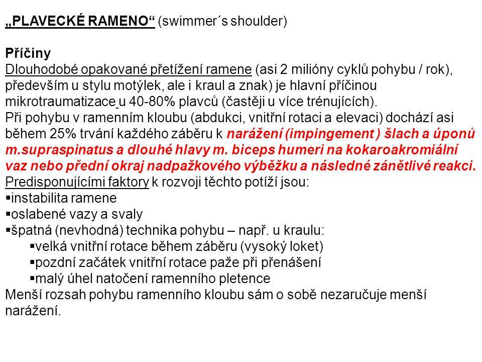 """""""PLAVECKÉ RAMENO"""" (swimmer´s shoulder) Příčiny Dlouhodobé opakované přetížení ramene (asi 2 milióny cyklů pohybu / rok), především u stylu motýlek, al"""
