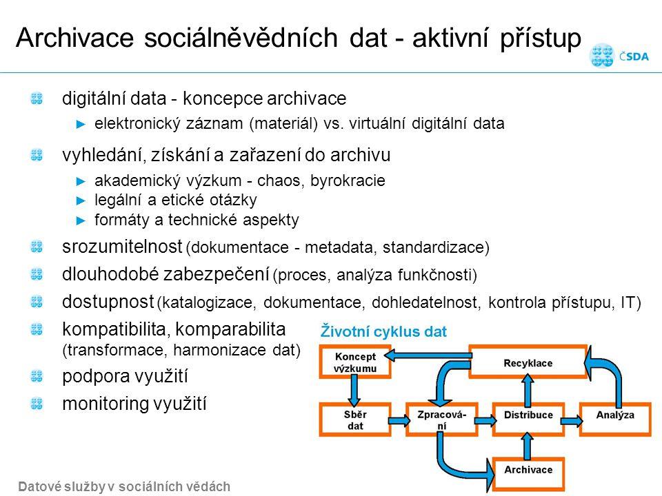 Archivace sociálněvědních dat - aktivní přístup Datové služby v sociálních vědách Snímek 10 digitální data - koncepce archivace ► elektronický záznam (materiál) vs.
