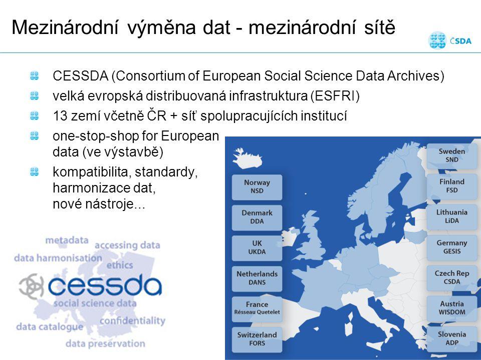 Mezinárodní výměna dat - mezinárodní sítě Datové služby v sociálních vědách Snímek 11 CESSDA (Consortium of European Social Science Data Archives) velká evropská distribuovaná infrastruktura (ESFRI) 13 zemí včetně ČR + síť spolupracujících institucí one-stop-shop for European data (ve výstavbě) kompatibilita, standardy, harmonizace dat, nové nástroje...