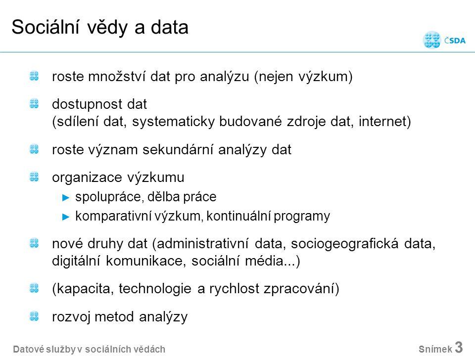Sociální vědy a data roste množství dat pro analýzu (nejen výzkum) dostupnost dat (sdílení dat, systematicky budované zdroje dat, internet) roste význam sekundární analýzy dat organizace výzkumu ► spolupráce, dělba práce ► komparativní výzkum, kontinuální programy nové druhy dat (administrativní data, sociogeografická data, digitální komunikace, sociální média...) (kapacita, technologie a rychlost zpracování) rozvoj metod analýzy Datové služby v sociálních vědách Snímek 3