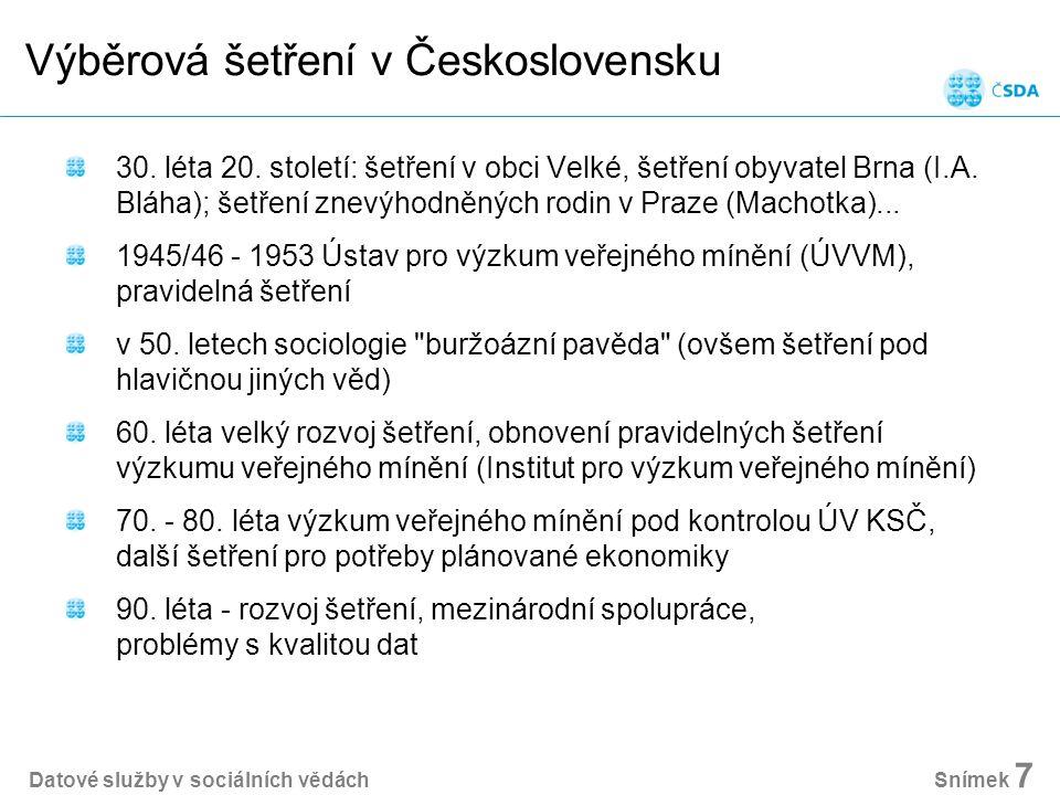 Výběrová šetření v Československu 30. léta 20.