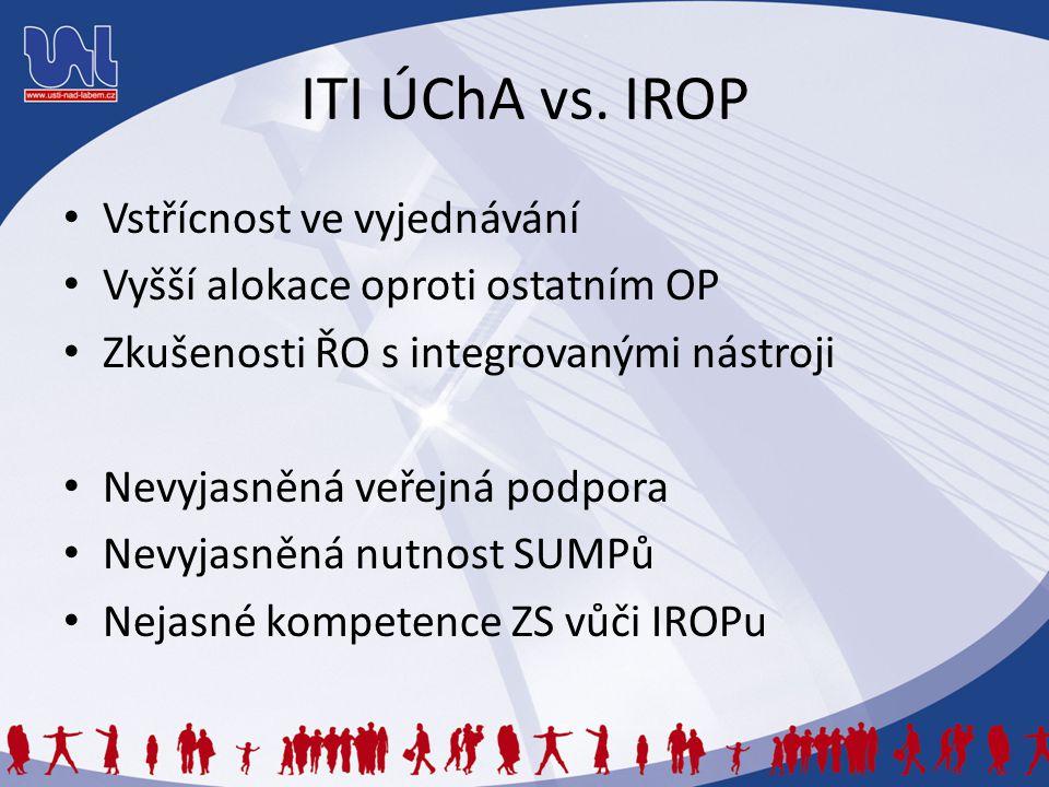 ITI ÚChA vs. IROP Vstřícnost ve vyjednávání Vyšší alokace oproti ostatním OP Zkušenosti ŘO s integrovanými nástroji Nevyjasněná veřejná podpora Nevyja