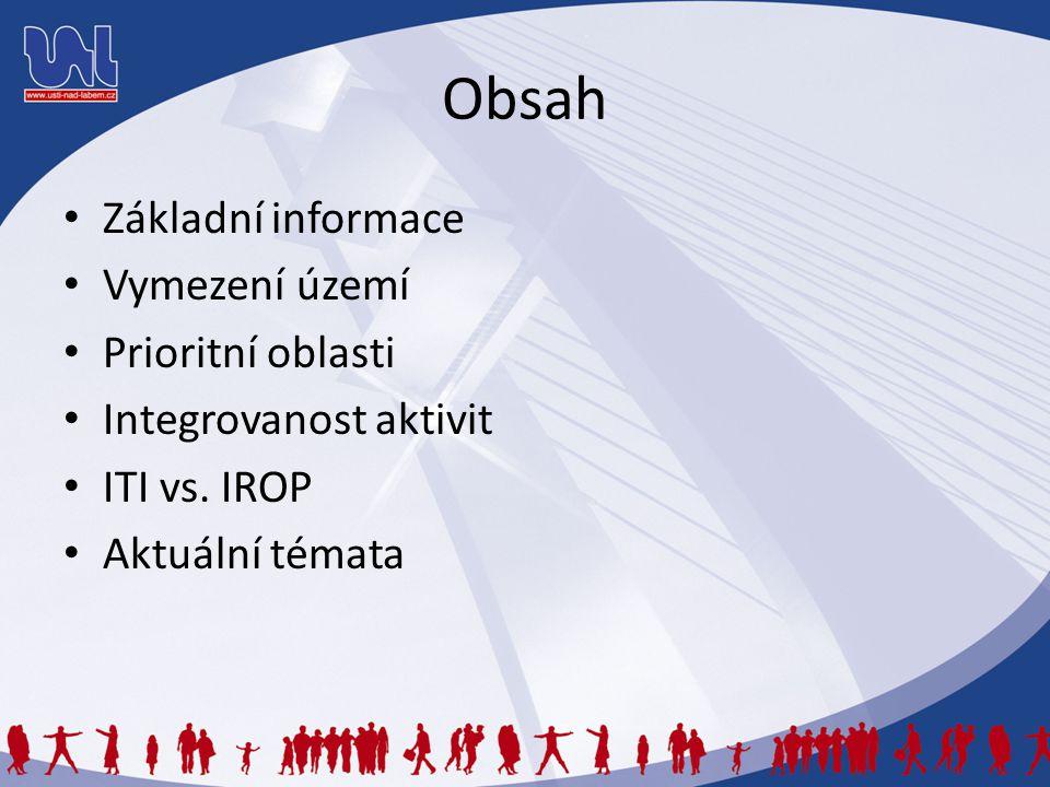 Obsah Základní informace Vymezení území Prioritní oblasti Integrovanost aktivit ITI vs. IROP Aktuální témata