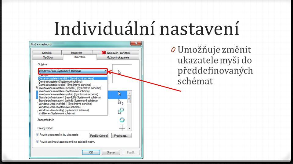 Individuální nastavení 0 Umožňuje změnit ukazatele myši do předdefinovaných schémat