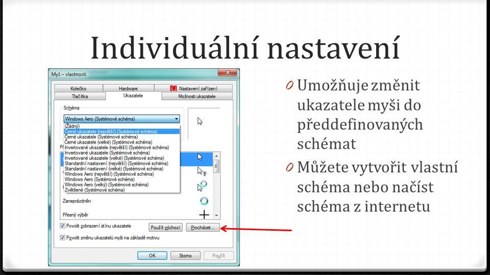 Individuální nastavení 0 Umožňuje změnit ukazatele myši do předdefinovaných schémat 0 Můžete vytvořit vlastní schéma nebo načíst schéma z internetu