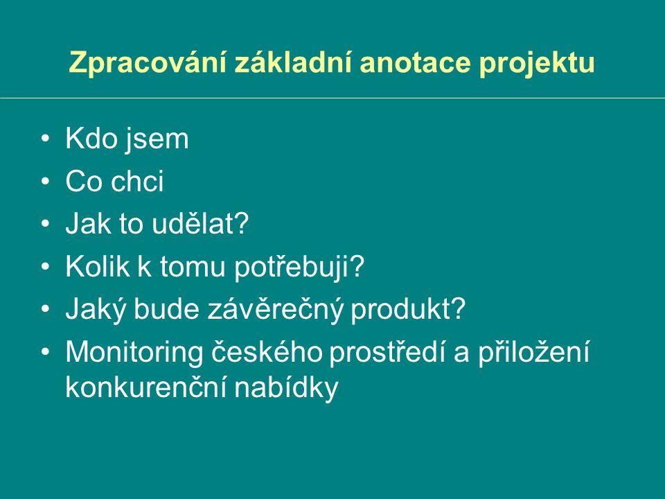 Zpracování základní anotace projektu Kdo jsem Co chci Jak to udělat? Kolik k tomu potřebuji? Jaký bude závěrečný produkt? Monitoring českého prostředí